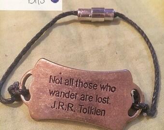 Wanderlust Vintage Quote Bracelet Cuff tolkien