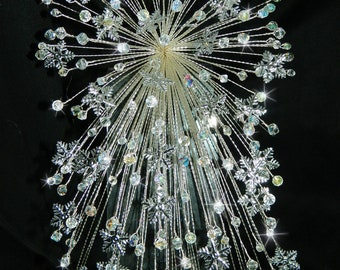 Snowflake bouquet   - AB crystals silver snowflakes - so sparkly