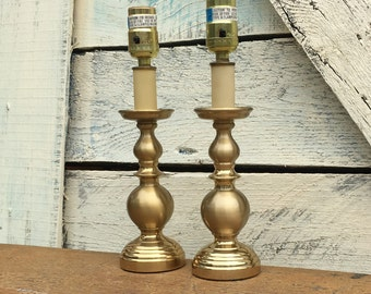 Pair of Vintage Brass Accent Lamps | Tabletop or Bedroom Lighting for Various Decor Styles
