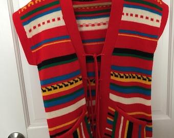 Vintage 1970s Boho Sweater Vest, Striped Women's Sweater Vest with Pockets, Tie Front Vest, Retro Hippie Boho Sweater Vest, Hipster Vest
