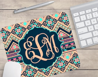 Navy Aztec Mouse Pad, Personalized Mouse Pad, Custom Mouse Pad, Monogram Mouse Pad, Aztec Coaster (0069)