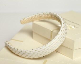 Ivory padded headband Dotted ivory headband Classic padded headband Girl headband Women headband Ivory hair accessory