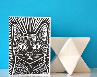 Linocut Cat Card