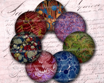 Marbled Paper Circles Antique Book Lovers Digital Collage Sheet Page 2 Inch Circles for DIY Compacts Magnets Buttons End Paper Download 552
