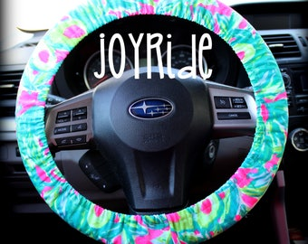 Steering Wheel Cover Lilly Pulitzer Guac & Roll Fabric Fully lined with Grip Tight Designer Car Accessories Coral For Girls Woman
