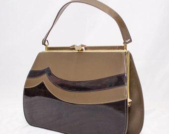 Classic 1960's Handmade Naturlizer Stimulated Leather Handbag
