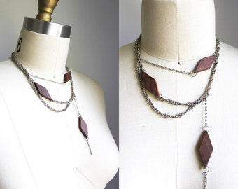 Wood Diamond Silver Chain Sustainable Necklace