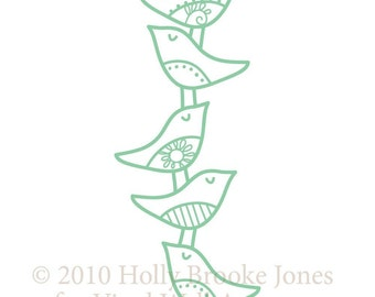 stacked birds vinyl wall decal SMALL
