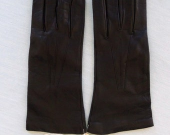 Vintage 60s Black Leather Gloves New with Tags Size 6.5 Washable