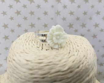 Large White Flower Ring