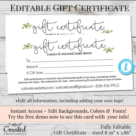 Gift certificate voucher printable gift cert editable gift gift certificate voucher printable gift cert editable gift certificate instant download business templates shop voucher printable yadclub Image collections