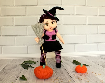 Halloween Witch Doll Halloween Gift Christmas gift doll Handmade Witch Doll Unique Halloween Decoration Cute Witch Doll OOAK Knitted Doll