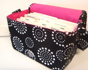 """Large 4"""" Size Fabric Coupon Organizer Box Holder -Attaches to your Shopping Cart - Black with White Dotted Circles with Pink Lining"""