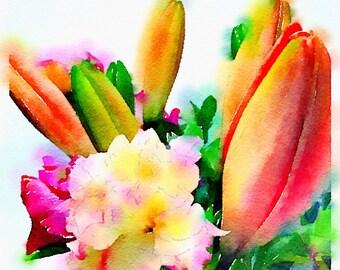 Watercolor Print - Floral - Bouquet on White
