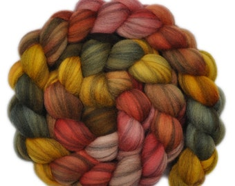 Hand dyed roving - Merino Humbug wool combed top spinning fiber - 4.0 ounces - Gracious Host 2