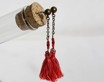 Red tassel dangle earrings