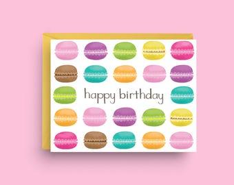 Macaron Card, Happy Birthday Card, French Macarons, Birthday Card, Macaron Art, Greeting Card,  Birthday Card for Friend,