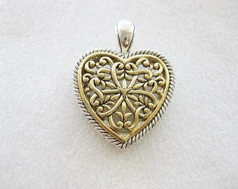 Jewelry Supplies ~ Heart Pendant  Two-tone  Filigree  Designer look