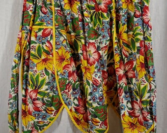 Vintage Tropical Flowers Half Apron - Reds Yellows Blue Green - Cotton