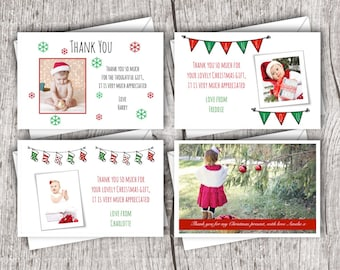 Personalised Christmas Photo THANK YOU Cards inc. envelopes - Flat Style