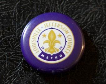 "1"" Louisville KY flag button - Kentucky, city, pin, badge, pinback"