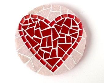 Valentine Heart Art, Red Heart Mosaic, round mosaic heart wall decor,