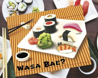 Enamel Pin Greeting Card 'Wasa Bae?' Card + Sushi Enamel Pin Set