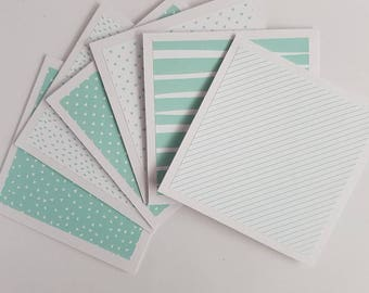 6 Mint Mini Notecards // Mini Note Cards Set// Blank Notecards// Blank Cards// Small Cards
