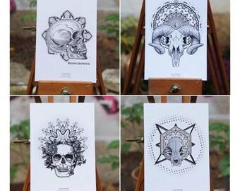 Lot 4 Cartes Postales Skulls & Mandalas