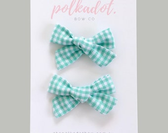 Mint Green Gingham Pigtail Bows | Baby Hair Clips | Pigtail Bows | Baby Clips | Gingham Pigtail Bows | Baby Bows | Bows | Toddler Hair Bows