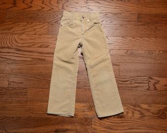 vintage 60s Levis corduroy pants girl boy youth child tan cords Levi's Big E orange tab 1960 children clothing size 7 slim 20x19 Talon 42