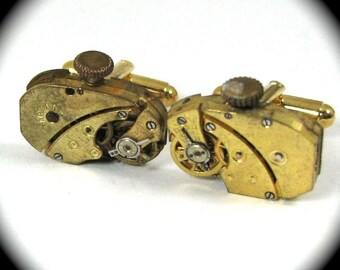 Steampunk Cufflinks RARE Mirror Image Clockwork Cufflinks with Ruby Jewels by Nouveau Motley