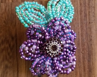 "2.5"" Purple Flower and Green Leaves Barrette"