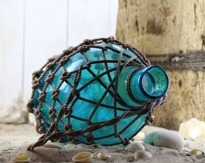Beach Decor, Turquoise Big Glass Pirates Rum Jug in Rope Netting by SEASTYLE