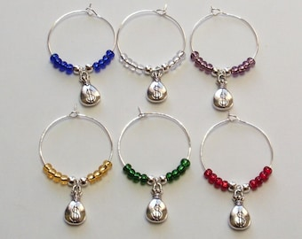 Moneybag wine glass charms, Moneybag wine glass markers