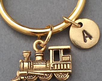 Train keychain, train charm, automobile keychain, personalized keychain, initial keychain, initial charm, customized, monogram
