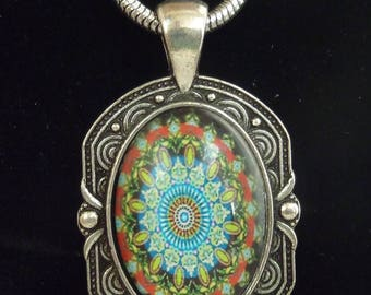 Antique style patterned cabochon necklace, handmade
