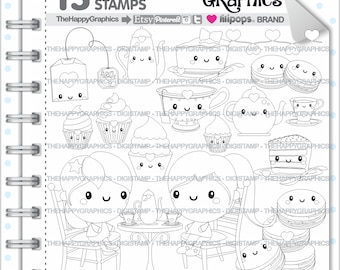 Tea Stamp, 80%OFF, COMMERCIAL USE, Digi Stamp, Tea Digistamp, Kawaii Stamps, Tea Party Digistamp, Tea Digital Stamp, Tea Time Digistamp
