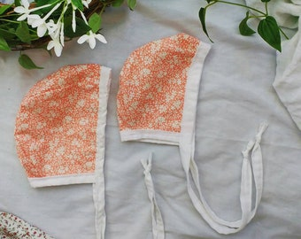 Peach Floral and White Reversible