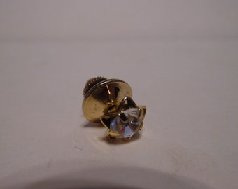 Vintage Avon Rhinestone Gold Color Lapel Pull Pin