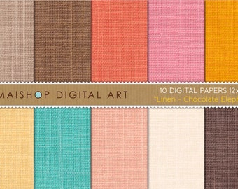 Digital Paper Linen 'Chocolate Elephant' Brown, Orange, Pink, Yellow, Turquoise... Fabric Texture Digital Sheets for cards, Invites...