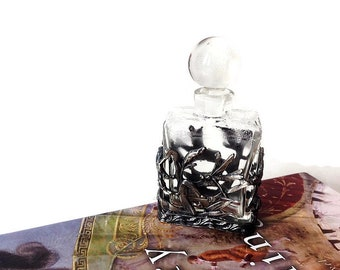 Vintage Pewter and Glass Collectible Perfume Bottle/  Silver Dragonflies on Botanical Grasses Perfume Bottle/ Boudoir Decor