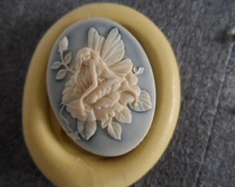 Cameo Cabochon Mold, Woodland Fairy Mold, Silicone push mold for resin, polymer clay, sugar craft- food safe, non toxic