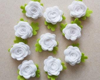 Aplique fieltro, flores fieltro, flores blancas