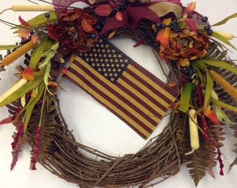 4th of July-American Flag Wreath-Flag-Colonial Wreath-Flag Decoration-Tea Stained Flag-Americana- New England Wreath-Fall Wreath with Flag-
