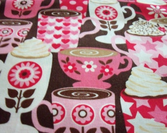 Coffee Latte Cappuccino Fabric Pinks & Reds  Fat Quarter New BTFQ