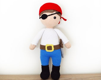 CROCHET PATTERN in English - Ben the Friendly Pirate - 18 in./45 cm. tall - Amigurumi - Instant PDF Download