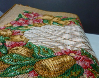 Vintage Set of 8 Woven Lined Tapestry Placemats Reversible, Warm Neutral Colors