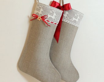 Christmas stocking Scandinavian Christmas stocking Linen burlap stocking Lace Christmas stocking