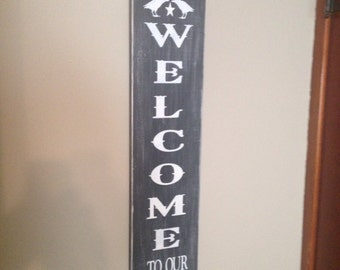 "Wood WELCOME sign, 42"" X 7 1/4"", hand painted, vertical, with 2 scroll accents, with a Distressed Finish"